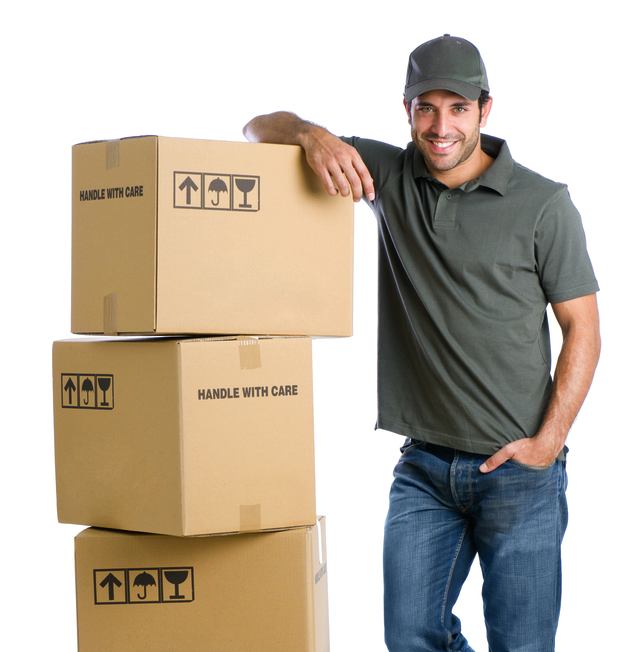 Picture of our employee ready to move boxes for our customer in Charlottesville, VA